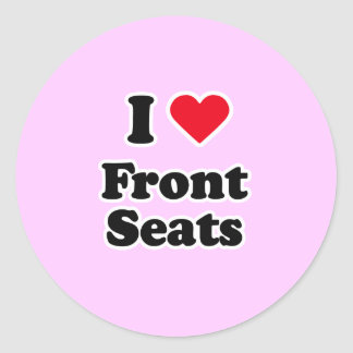 I love front seats classic round sticker