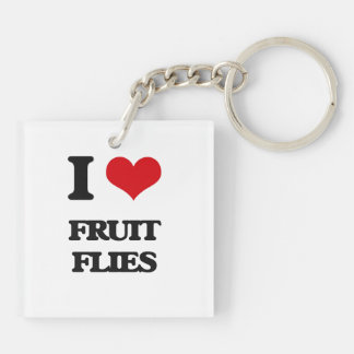 I love Fruit Flies Double-Sided Square Acrylic Keychain