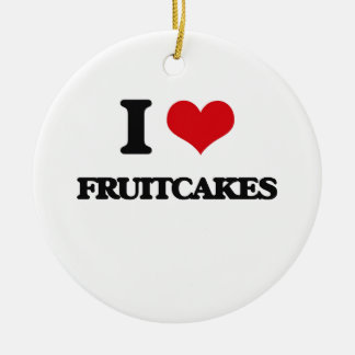 I love Fruitcakes Double-Sided Ceramic Round Christmas Ornament