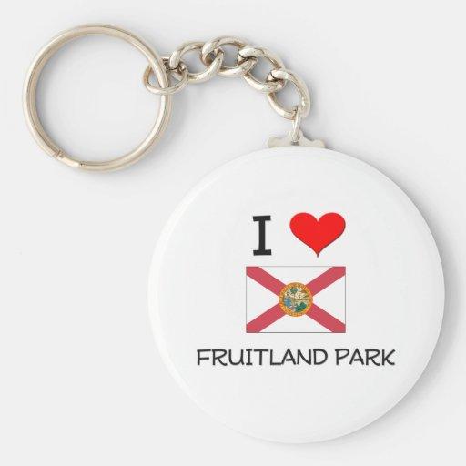 I Love FRUITLAND PARK Florida Basic Round Button Keychain