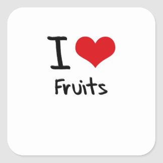 I Love Fruits Square Stickers