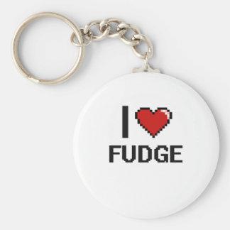 I Love Fudge Basic Round Button Keychain