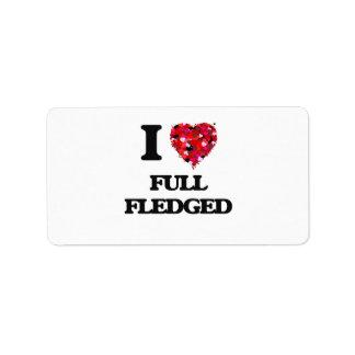 I Love Full Fledged Address Label