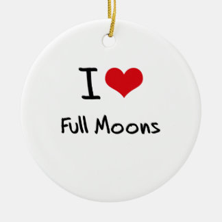 I Love Full Moons Double-Sided Ceramic Round Christmas Ornament