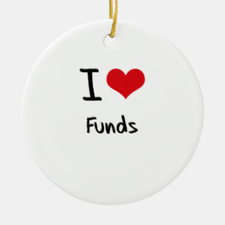 I Love Funds Double-Sided Ceramic Round Christmas Ornament