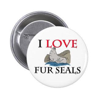I Love Fur Seals Pinback Button
