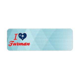 I Love Furman South Carolina Labels