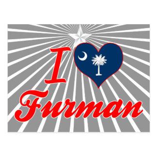 I Love Furman South Carolina Postcard
