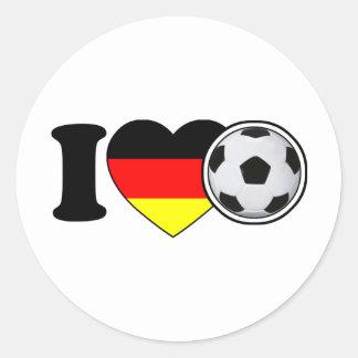 """i Love fútbol"" Con corazón popular de alemania - Pegatina Redonda"