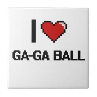I Love Ga-Ga Ball Digital Retro Design Small Square Tile