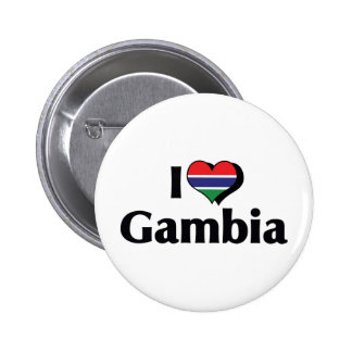 I Love Gambia Flag Pinback Button
