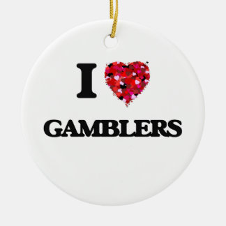 I Love Gamblers Double-Sided Ceramic Round Christmas Ornament