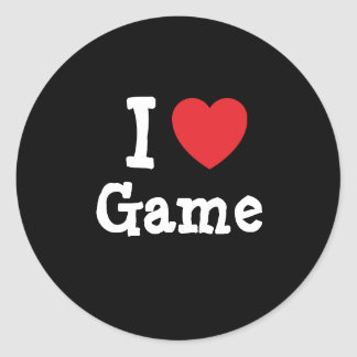 I love Game heart T-Shirt Round Stickers