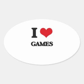 I Love Games Oval Sticker
