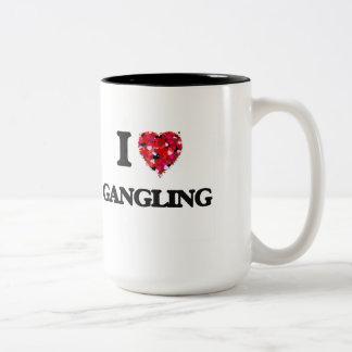 I Love Gangling Two-Tone Coffee Mug