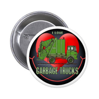 I Love Garbage Truck Greens Button Pin