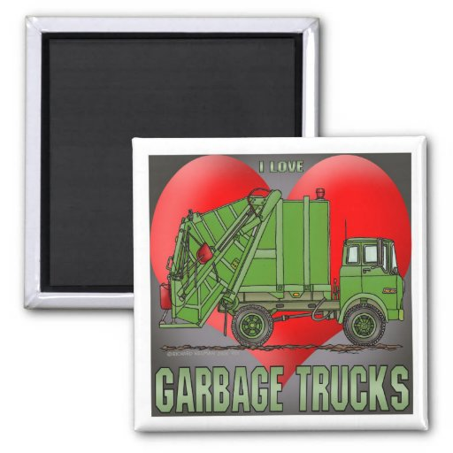 I Love Garbage Truck Greens Magnet