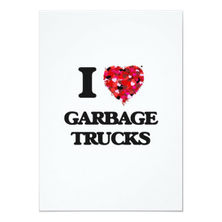 I love Garbage Trucks 5x7 Paper Invitation Card