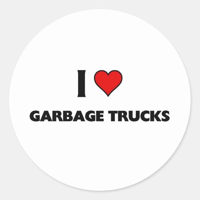 I love garbage trucks classic round sticker