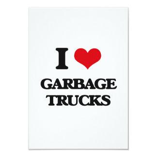I love Garbage Trucks 3.5x5 Paper Invitation Card