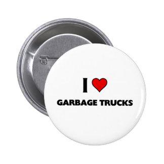 I love garbage trucks pinback button