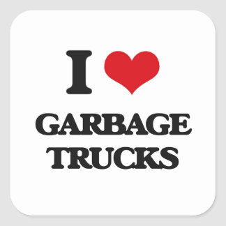 I love Garbage Trucks Square Sticker