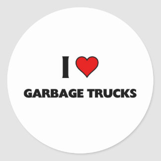 I love garbage trucks round sticker