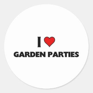 I love garden parties classic round sticker