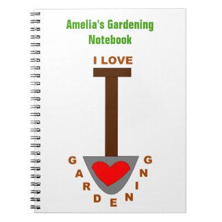 I Love Gardening Spade Custom Notebook
