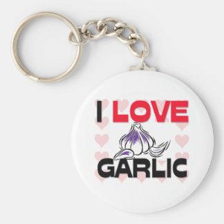I Love Garlic Basic Round Button Keychain