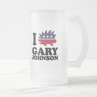 I Love Gary Johnson - Libertarian - -  Frosted Glass Beer Mug