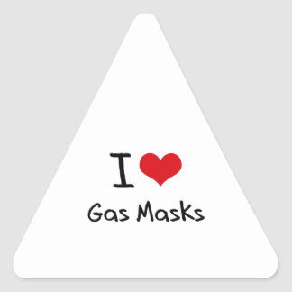 I Love Gas Masks Triangle Stickers