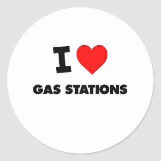 I Love Gas Stations Classic Round Sticker