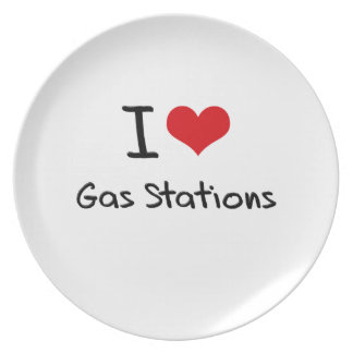 I Love Gas Stations Party Plate