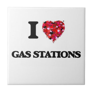 I Love Gas Stations Small Square Tile