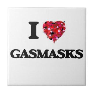 I Love Gasmasks Small Square Tile