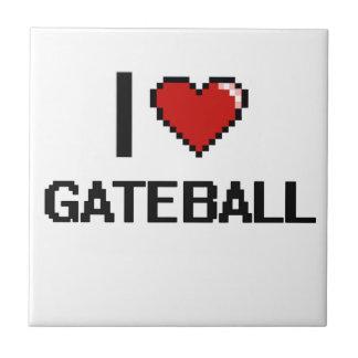 I Love Gateball Digital Retro Design Small Square Tile