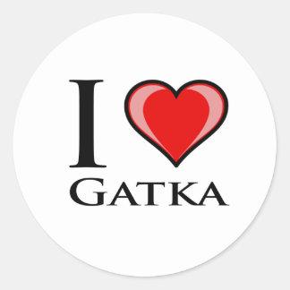 I Love Gatka Round Stickers