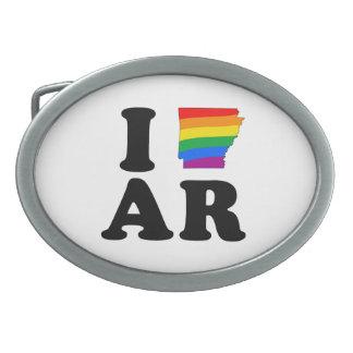 I LOVE GAY ARKANSAS OVAL BELT BUCKLE