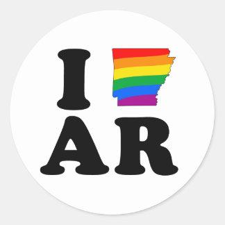 I LOVE GAY ARKANSAS CLASSIC ROUND STICKER