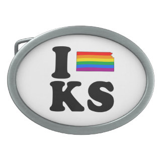 I LOVE GAY KANSAS BELT BUCKLES