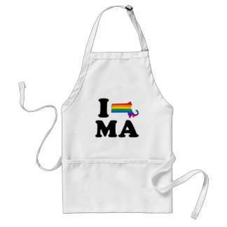 I LOVE GAY MASSACHUSETTS ADULT APRON
