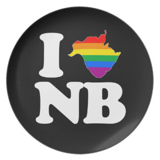 I LOVE GAY NEW BRUNSWICK - WHITE -.png Party Plate