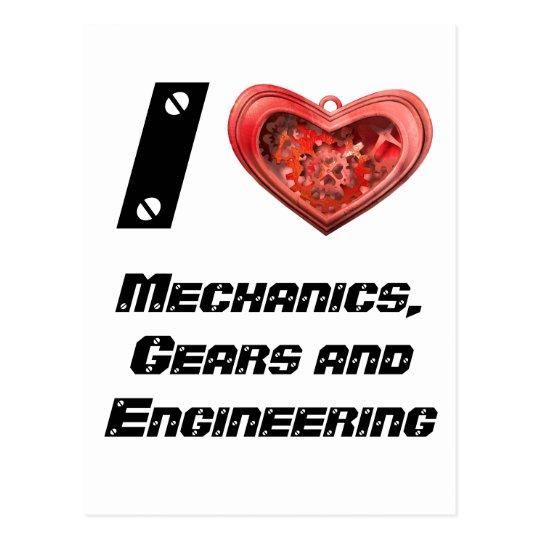 I love gears postcard