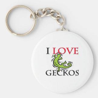 I Love Geckos Basic Round Button Keychain