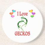 I Love Geckos Drink Coaster