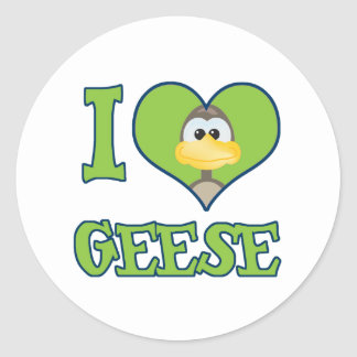 I Love geese Classic Round Sticker