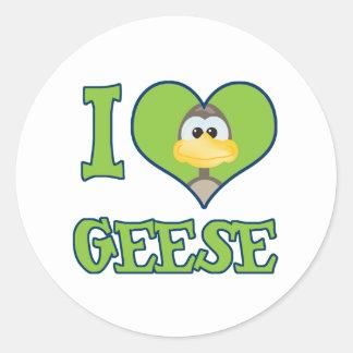 I Love geese Round Sticker