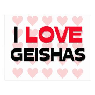 I LOVE GEISHAS POSTCARD