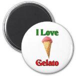 I Love Gelato (Italian Ice Cream) 2 Inch Round Magnet
